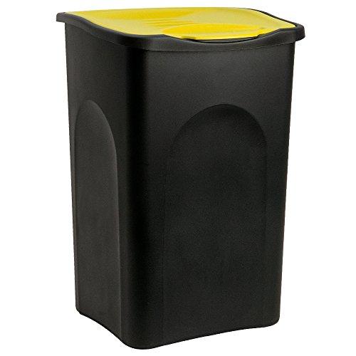 Stefanplast® Mülleimer 50L Klappdeckel schwarz/gelb - Abfalleimer Abfallbehälter Müllbehälter Papierkorb Abfallsammler made in Italy