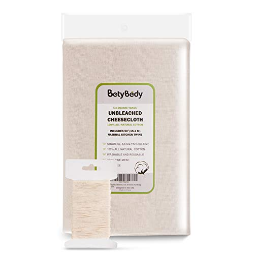 BetyBedy Cheesecloth, Grade 50 (5.5 Yards/49.5 Sq. Feet) Unbleached Cotton Fabric with 50 Feet Cooking Twine, Washable and Reusable Strainer for Cheesemaking, Food Filter/ Strainer, Nut Milk Bag