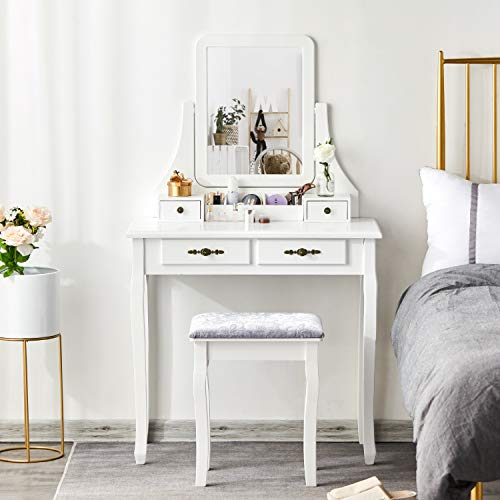 Best Review Of Vanity Set with Bench and 360° Rotating Rectangular Mirror, Tiptiper Dressing Table ...