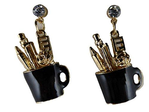 Ohrringe Ohrstecker Stecker goldfarben / schwarz Becher mit Stiften Büro Sekretärin Schreibtisch 6542