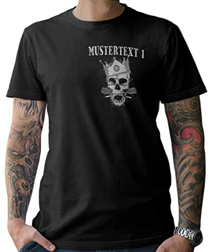 NG articlezz Herren T-Shirt Darts Skull – Geniales Darttrikot Mit Wunschtext Gr. S – 5XL - mit Front- und Rückenprint