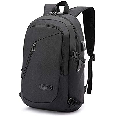 Laptop Backpack,Business Travel Anti Theft Backpack Gift for Men Women with USB Charging Port Lock,Slim Durable Water Resistant College School Bookbag Computer Bag Fits 15.6 Inch Laptop Notebook from WENIG