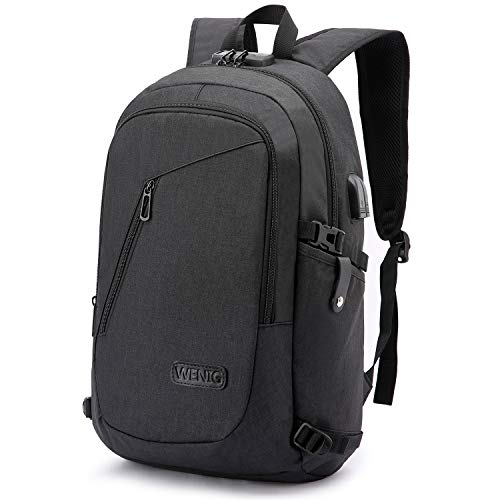Anti-Theft Laptop Backpack,Business Travel Backpack Bag with USB Charging Port Lock,Water Resistant College School Computer Rucksack Work Backpack for Mens Womens Fits 15.6 Inch Laptop-Black