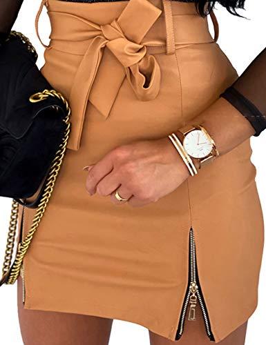 N / D Las Mujeres de Cuero de la PU Mini Falda de Cremallera Acampanada Bodycon lápiz Faldas Sexy Faldas Cortas