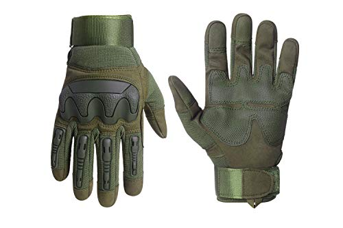 HIKEMAN Motorradhandschuhe Sport Taktische Handschuhe,Herren Voller Finger Touchscreen Schutzhandschuhe für Männer & Frauen Training Klettern Jagen Wandern Airsoft Paintball und Arbeit(Armeegrün, L)