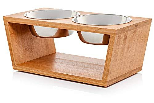 Migosset Futterstation - Erhöhter Futterspender für kleine, mittlere & größere Hunde - Futternapf-Halterung aus Bambus - Mit 4 Edelstahlnäpfen: 4x 1650 ml- 18 x 44,5 x 23 cm - Mittelgroß