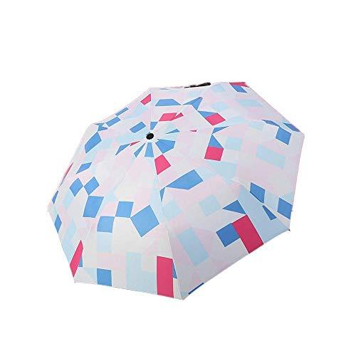 YNHNI Paraguas Plegables Protección Solar Lluvia y Sol Personalidad de la Moda Triple Pliegue Sombrilla Sombrilla,Portátil (Color : White)