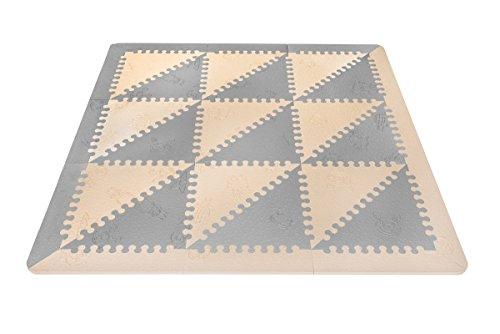 LuBabymats - Alfombra puzzle infantil para bebés de Foam (EVA), suelo extra acolchado para niños, color gris y beige