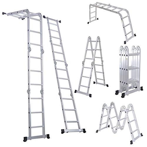 LUISLADDERS Folding Ladder Multi-Purpose Aluminium Extension 7 in 1 Step Heavy Duty Combination EN 131 Standard (12.5 Feet) Georgia