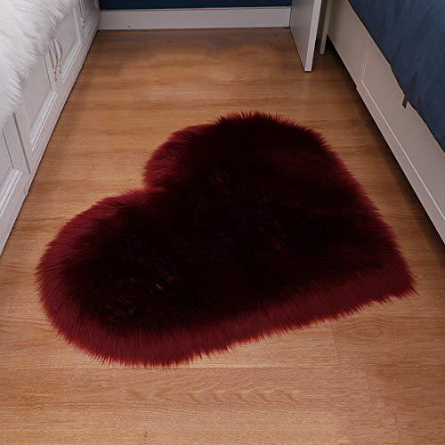 ZXXY Alfombra de Piel Artificial, Alfombra de Alfombra esponjosa en Forma de corazón en la Alfombra de Piel Artificial de la Oficina del Dormitorio en casa - Vino Rojo