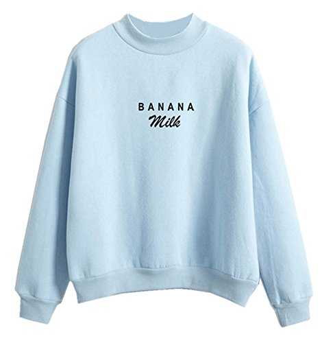 Fashiononly Kawaii Sweater Banana Milk Tumblr Pastel Sweatshirt Women Hoodies for Teen Girls, Light Blue, XXL
