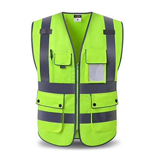 DBL Reflektierende Sicherheitsweste Mehrfach-Arbeitskleidung Warnweste Reisen bei Nacht Sicherheit Sicherheitswesten (Color : Fluorescent yellow, Size : L)