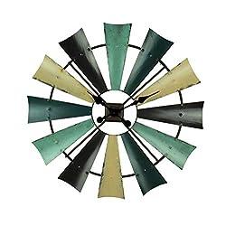 Zeckos Rustic Coastal Color Metal Farmhouse Windmill Wall Clock