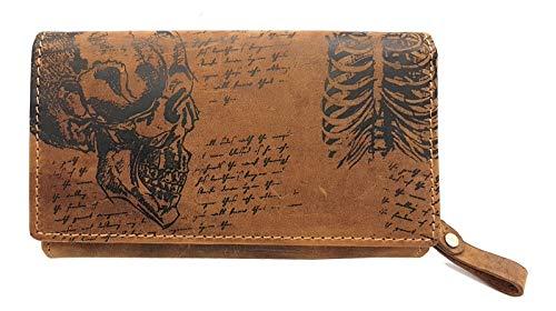 echt Büffel Vollleder Geldbörse, lang, naturbelassenes Hunterleder Portemonnaie mit RFID Schutz Totenkopf Schädel Skull