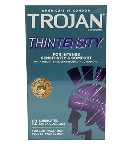 Trojan Sensitivity Thintensity Lubricated Premium Latex Condoms - 12 ct, Pack of 2