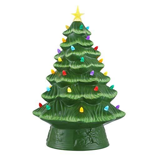 Mr. Christmas Prelit Ceramic Christmas Tree 16 in, Multiple Colors