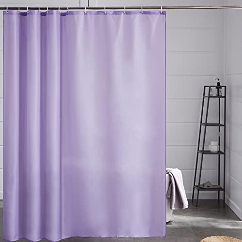 Furlinic Duschvorhang Überlänge für Badezimmer Badvorhang Anti-schimmel Textil für Badewanne & Dusche Vorhang aus Stoff Antibakteriell Waschbar mit 12 Haken Extra Groß Lila 200x240cm.