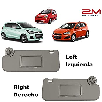 Sun Visor fits for Chevy Sonic 2012-2019 Spark 2013-2016 Passenger and Driver Sides Right + Left LH + RH Gray Replacement 2M PLASTIC