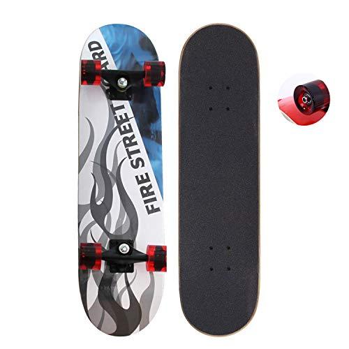 EnjoyFit Skateboard für Kinder Jungendliche und Erwachsene, Komplettboard mit Transparent Leuchtrollen inkl. Alu Truck und ABEC - 7 Kugellager 80 x 20 cm, Belastbarkeit 150 kg (Flamme)