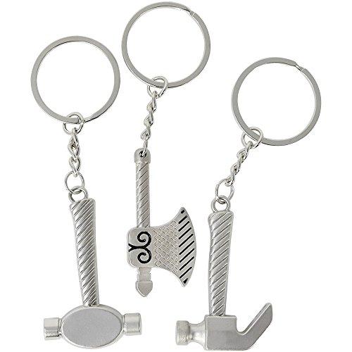 COM-FOUR® 3x Viking sleutelhanger, hamer en bijl van metaal als hanger, ontwerp in middeleeuwse Vikingstijl, mini-Mjölnir voor de sleutelhanger (03 stuks - Vikingen)