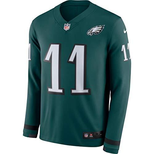Nike Men's Philadelphia Eagles Carson Wentz Long Sleeve Therma Jersey (Medium) Green