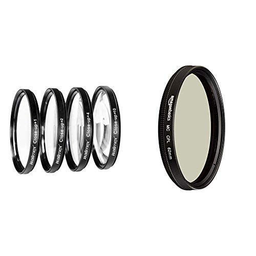 Walimex Close up Makrolinsen-Set 62 mm inkl. +1/+2/+4/+10 Dioptrien & Amazon Basics Zirkularer Polarisationsfilter - 62mm