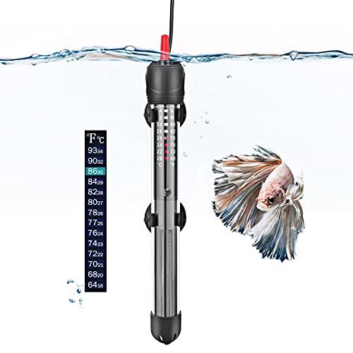 FEDOUR Aquarium Heizung, 50W 100W 300W Temperatur Einstellbare Aquarium Heizer Mit Saugnäpfen,Thermostat für Fischtanks (100W)