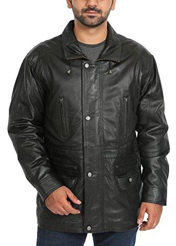 House Of Leather Hommes Cuir Véritable Hanche Longueur Nouveau Parka Gents Manteau de Voiture Hiver Chaud Jason Noir (3XL)