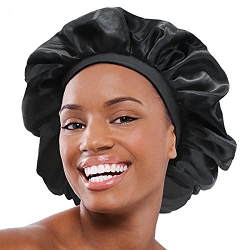 CASRO bonnets for black women Sleep Cap Silky Bonnet Satin Wide Elastic Band for Women Curly Natural Long Hair Large (Pure Black)
