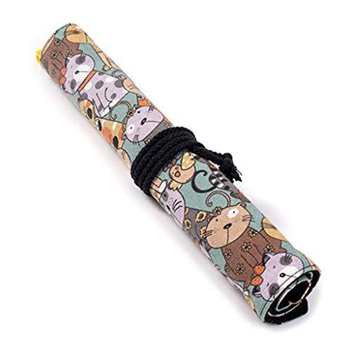 GROOMY Stift Vorhang, 20 Löcher Leinwand mit großer Kapazität Aufrollbarer Stift Vorhang Bleistift Tasche Make-up Wickelhalter -E