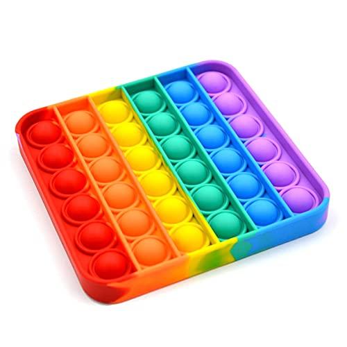 C&X Pop It Bubble Fidget Toy, Gioco Antistress Rilassante per Adulti e Bambini (Quadrato Arcobaleno)