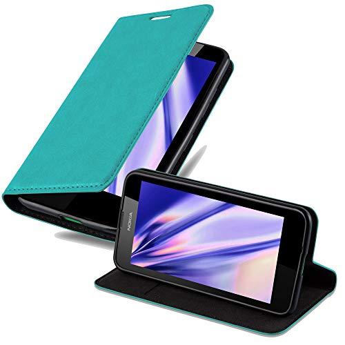 Cadorabo Hülle für Nokia Lumia 630 in Petrol TÜRKIS - Handyhülle mit Magnetverschluss, Standfunktion & Kartenfach - Hülle Cover Schutzhülle Etui Tasche Book Klapp Style