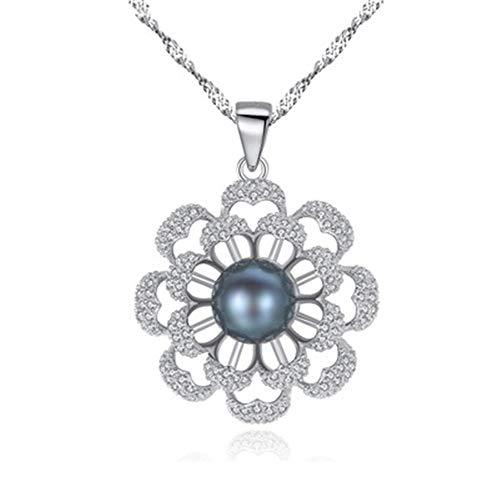 Madeinely collar de perlas negras y colgante de perlas blancas de agua dulce de plata de ley 925, cadena de 40,6 cm + 2 cm con ropa adecuada