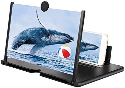 Eastor Handy Bildschirmlupe,12 Zoll Handy Lupe,3D Bildschirm Vergrößerungsglas für das Ansehen von Filmvideos,Faltbarer Handylupe Bildschirm Vergrösserung für alle Smartphones(Schwarz)