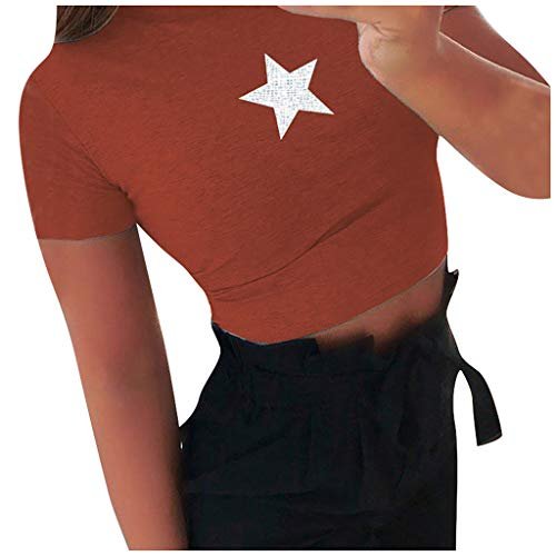 New Toimothcn Slim Fit Crop Tops Women Star Print Short Sleeves T-Shirt Blouse Tops(Orange,Medium)