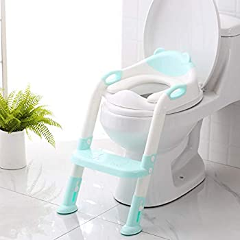 Potty Training Seat with Step Stool Ladder,SKYROKU Potty Training Toilet for Kids Boys Girls Toddlers-Comfortable Safe Potty Seat with Anti-Slip Pads Ladder  Blue