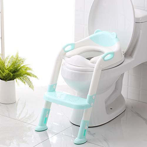 Potty Training Seat with Step Stool LadderSKYROKU Potty Training Toilet for Kids Boys Girls ToddlersComfortable Safe Potty Seat with AntiSlip Pads Ladder Blue