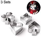 N/B WWTTE - Juego de 3 moldes de acero inoxidable para galletas de poker y tartas de fondant, diseño de corazón