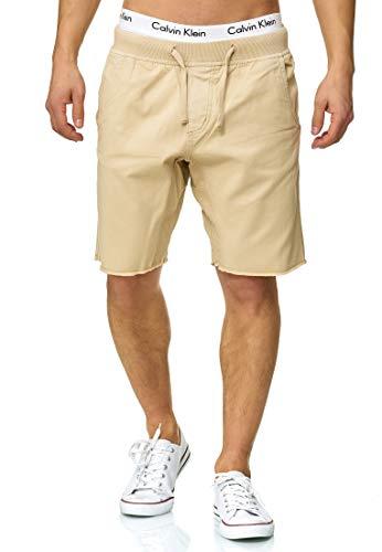 Indicode Herren Carver Chino Shorts aus 100% Baumwolle   Kurze Hose Regular Fit Bermudas Sommerhose Knielang Herrenshorts Destroyed Short Men Pants Chinohose kurz für Männer Beige XL