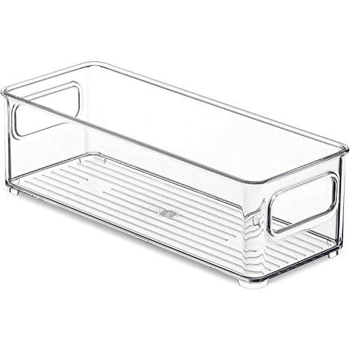 SODIAL 1 Pieza Contenedores Organizadores de Refrigerador, Estante de Almacenamiento de Alimentos de PláStico Transparente Apilable con Asas para Despensa, Cocina