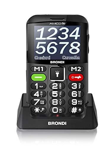 Brondi Amico Chic, Telefono cellulare GSM per anziani con tasti grandi, tasto SOS e funzione da remoto, dual SIM, volume alto, Nero