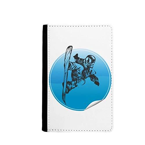 beatChong Wintersport Skier und Skistöcke Muster-Pass-Halter Travel Wallet Abdeckungs-Fall Karten-Geldbeutel