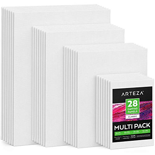 Arteza Painting Canvas Panels Multi Pack, 5x7', 8x10', 9x12', 11x14', Set of 28, Primed White, 100% Cotton with Recycled Board Core, for Acrylic, Oil, Other Wet or Dry Art Media, for Artists