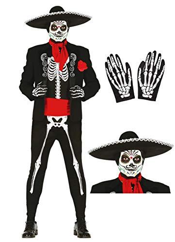 Disfraz de esqueleto mejicano con gorro y guantes