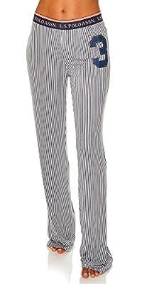 US Polo Assn. Womens Casual Lounge/Sleepwear Patterned Long Pajama Pant Charcoal Large