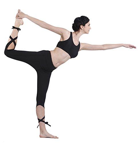 Queenie Ke Women's Yoga Pant Legging Capris String-End Workout Dance Pants Size L Color Black Pro