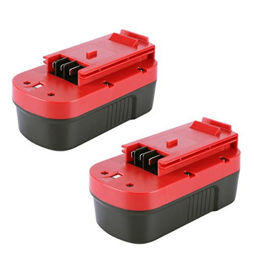 Biswaye 2 Pack 18V NI-CD Battery Replacement for Black & Decker HPB18-OPE 18-Volt Slide Pack Battery and 18-Volt Outdoor Cordless Power Tools