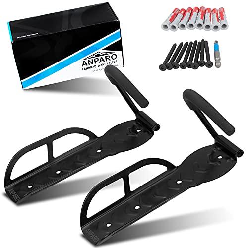 ANPARO - Fahrrad Wandhalterung 2er Set - Fahrrad Wandhalterung vertikal bis 25KG - schwarze Fahrradhalter aus Metall - mit Montageanleitung