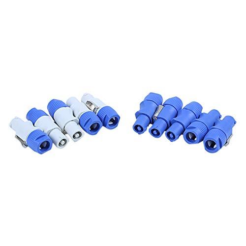 Kaxofang 10 Unids/Lote Nac3Fca Speakon Enchufe 3 Pin Conector Powercon Macho 20A 250V Ac Conector de AlimentacióN Azul y Blanco