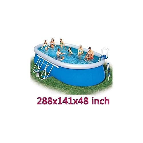 JHSHENGSHI Oberirdischer großer Swimmingpool mit Halterungen Kinder und Erwachsene können Schwimmen Familienpool Kostenlose Schwimmbeckenleiter und Schwimmbadespielzeug 288x141x48 Zoll